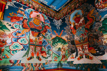 Paintings In Buddhist Monastery, Ladakh, India, Tibet