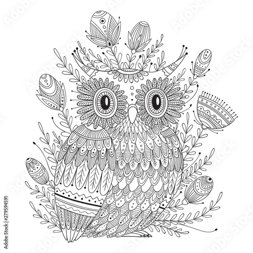 Foto auf Gartenposter Boho-Stil Beautiful detailed coloring page with bird