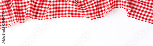 Red checkered tablecloth isolated on white background. Banner Fototapeta