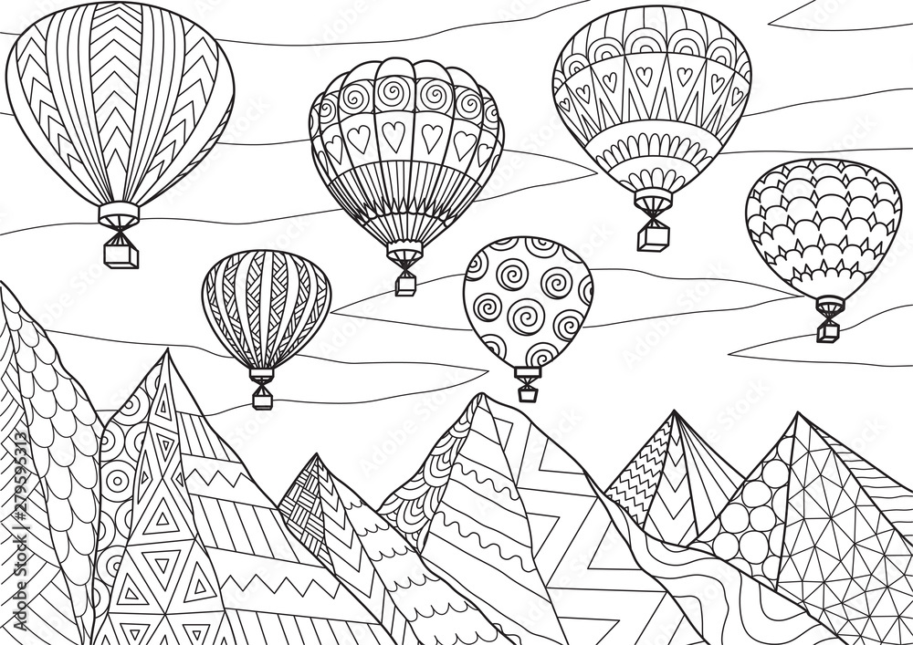Fototapeta Line art drawing with editable stroke width of beautiful hot air balloons flying above mountains in summer for printing on anything or adult coloring book or coloring page. Vector illustration.