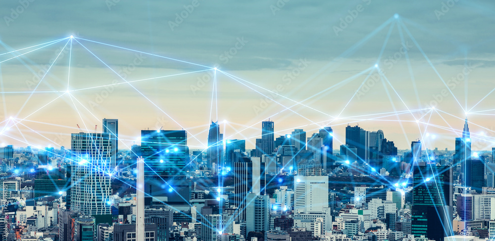 Fototapety, obrazy: 都市とネットワーク