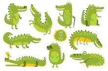 Crocodile Cute Character In Di...