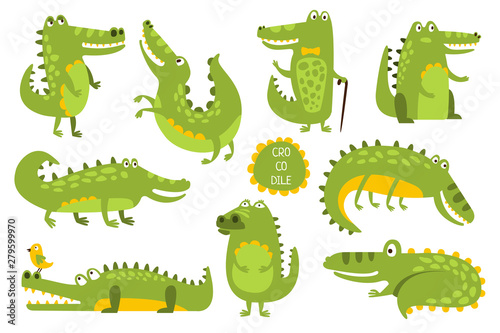 Fotografie, Obraz  Crocodile Cute Character In Different Poses Childish Stickers
