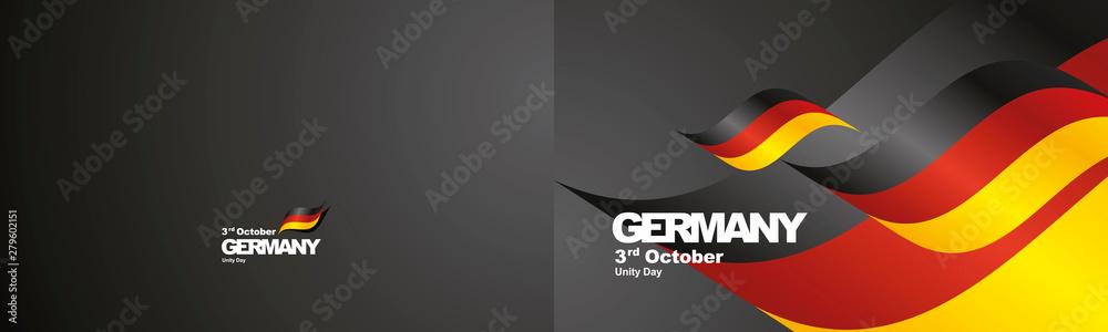 Fototapety, obrazy: Unity Day Germany flag ribbon two fold landscape background
