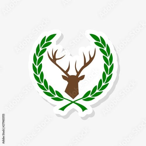 Simple pictogram of the deer head in the laurel wreath sticker Wallpaper Mural