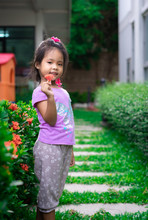 Portrait Of Cute Little Girl With Red Flower Standing In The Park