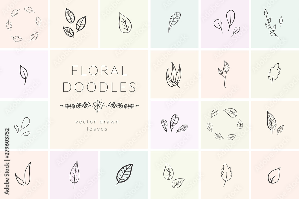 Fototapety, obrazy: Vector Hand Drawn Doodle florals and plants