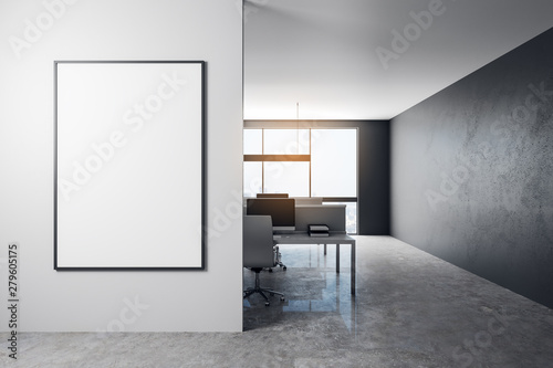 Poster de jardin Montagne Modern office with empty billboard