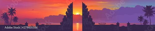 Poster Prune Bali traditional gate silhouette on sunset beach with palm trees and fishing boats background, vector balinese panorama banner illustration