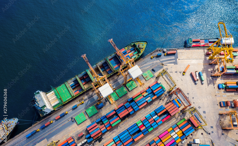 Fototapety, obrazy: Logistics and transportation of Container Cargo ship and Cargo import/export and business logistics, Shipping , Top view ,Aerial view from drone