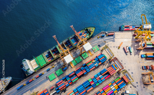 Logistics and transportation of Container Cargo ship and Cargo import/export and Fototapet