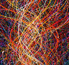 Colorful Lines Oil Painting Abstract Background And Texture.