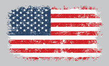 Grunge Old American Flag Vecto...