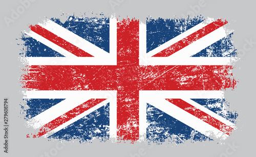 Fotografie, Obraz Grunge old UK British flag vector illustration