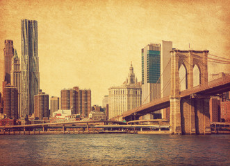 Panel Szklany Nowy York Brooklyn Bridge and Lower Manhattan in New York City, United States. Photo in retro style. Added paper texture.