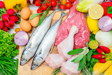 Concept Of Mediterranean Diet With Fish,meat And Vegetables