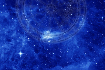 astrology background with galaxy, universe, stars, zodiac and horoscope wheel