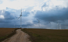 Road To Windmills In Wind Park