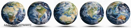 Stampa su Tela  Planet Earth world globe set