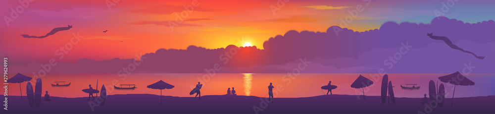 Fototapety, obrazy: Typical sunset view of Bali island Kuta beach with kites, surfing boards, beach umbrellas, fishing boats and surfers silhouettes.Vector banner illustration