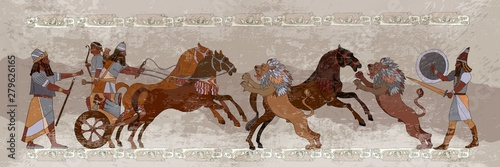 Photo Ancient Sumerian culture. King on chariot. Lion and warrior. Sce