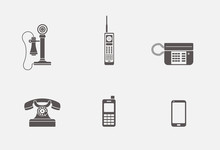 Isolated Phone Icons In Grey S...