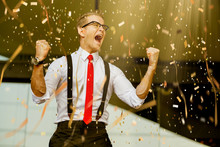 Successful Caucasian Businessman White Shirt And Red Tie Hand Up Victory Goal Achieve With Paper Shoot Confetti Color Tone