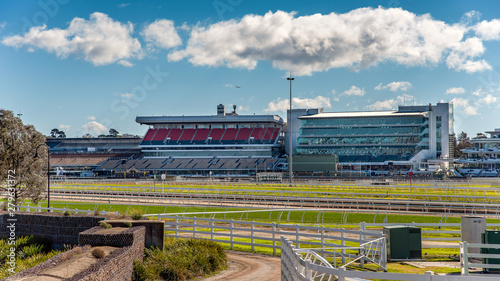 The Flemington Racecourse grandstands in front of the Maribynong River in Melbou Canvas Print