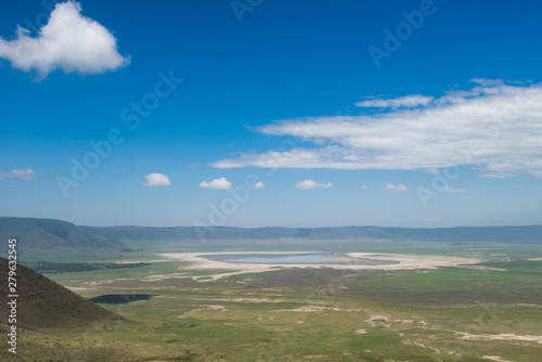 Leinwand Poster Scenery above view of Ngorongoro crater with deep blue sky
