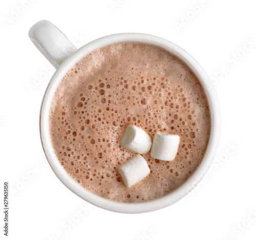 Foto auf Leinwand Schokolade Cocoa drink in white mug
