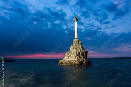Fotografie, Obraz  Monument to the Scuttled Warships in Sevastopol at night, Crimea