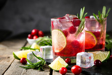 Cold Season Drink - Cranberry And Rosemary Cocktail, Copy Space