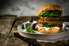 Vegan Zucchini Burger And Ingr...