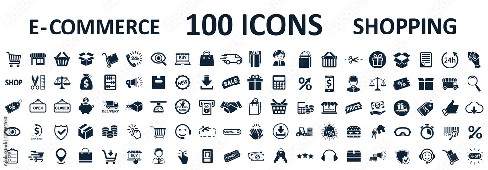 Fototapeta Shopping icons 100, set shop sign e-commerce for web development apps and websites - stock vector