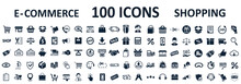 Shopping Icons 100, Set Shop Sign E-commerce For Web Development Apps And Websites - Stock Vector