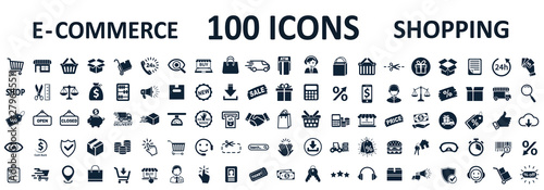 Obraz Shopping icons 100, set shop sign e-commerce for web development apps and websites - stock vector - fototapety do salonu