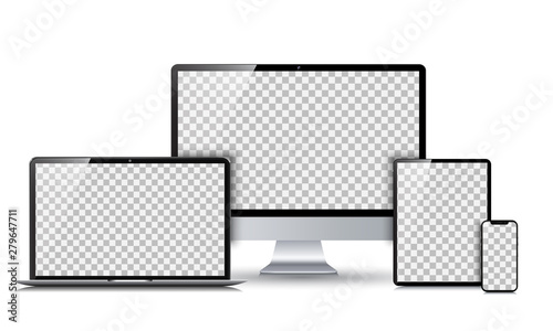 Fotografia Set technology devices with empty display - vector