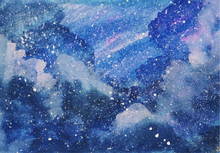 Galaxy Blue Sky Watercolor Background