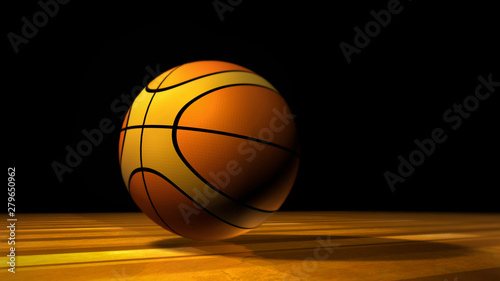 Basketball on the wooden texture court floor Canvas Print