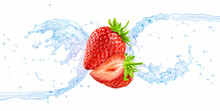 Fresh Cold Pure Flavored Water With Strawberry Wave 3D Splash Isolated On White. Clean Infused Water Or Liquid Fluid Wave Splash Design Elements With Berries. Healthy Flavored Drink Splash Concept