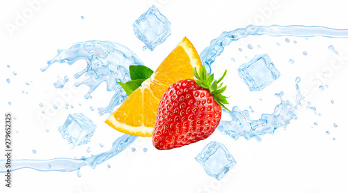 Fresh cold pure flavored ice water with strawberry and orange wave 3D splash isolated on white. Clean infused water wave splash with berries. Healthy flavored detox drink splash concept with ice cubes