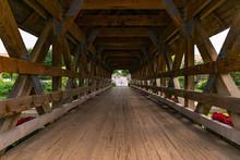 Inside A Naperville Riverwalk Covered Bridge Over The DuPage River