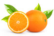canvas print picture - Fresh orange isolated on white background