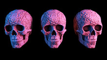 Three Colorful Neon Skull Halloween Or Mexican Day Of The Dead Día De Muertos. Kalamkari Pattern. Black Yellow Background. 3d Render. 80s 70s 60s.