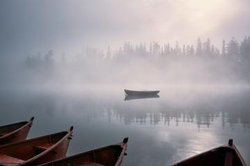 FototapetaBoats in mysterious fog