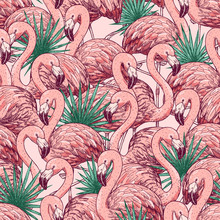 Pink Flamingo Tropical Seamless Pattern. Beautiful Background. Vector Illustration