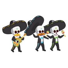 Mexican Skulls Mariachis Playi...