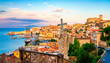 canvas print picture - Gaeta's historic quarter from Monte Orlando, Lazio, Italy. Cityscape of Gaeta town. Statue of St. Francesco.