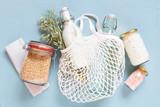Fototapeta Kawa jest smaczna - Zero waste life stile concept, shopping with reusable packaging