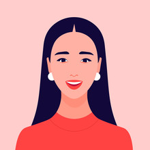 The Face Of A Happy Girl. Avatar Of A Laughing Young Woman. Portrait. Vector Flat Illustration